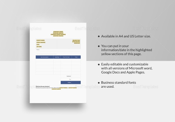 sample blank invoice template