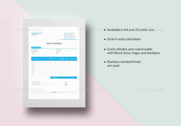sample hourly timesheet template