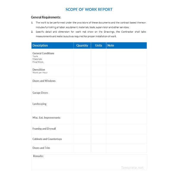 scope of work report template