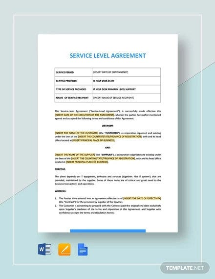 Muster Service Level Agreement Sla