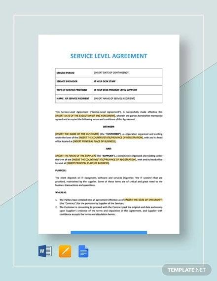 19 Sample Service Level Agreement Templates Word Pdf
