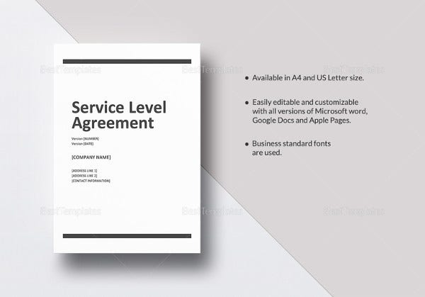 service level agreement in word