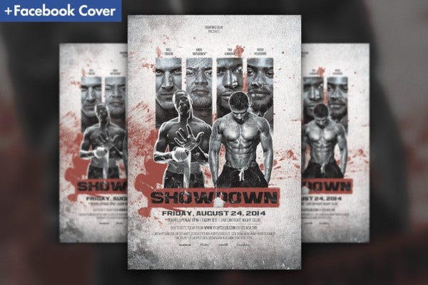 showdown fight night flyer template
