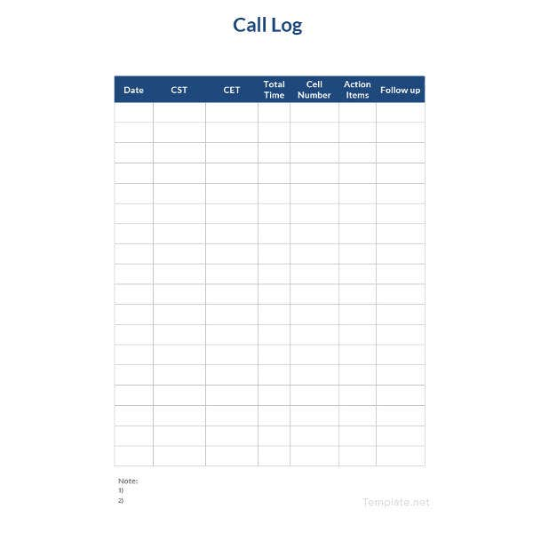 Superb Simple Call Logs Template