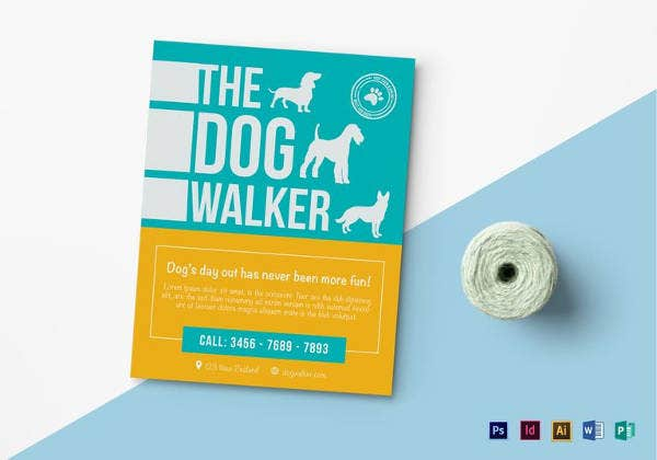 Dog walking flyer template 10 free psd vector ai eps format simple dog walker flyer template pronofoot35fo Choice Image