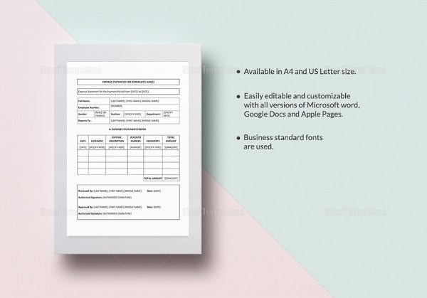 simple-expense-statement-word-template