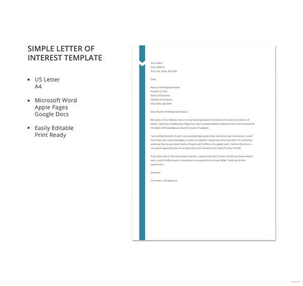 letter of interest 12 free sample example format free