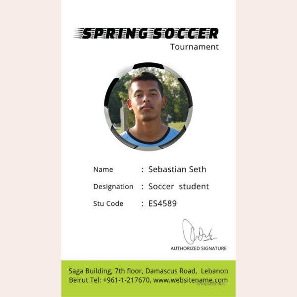 soccer identity card template