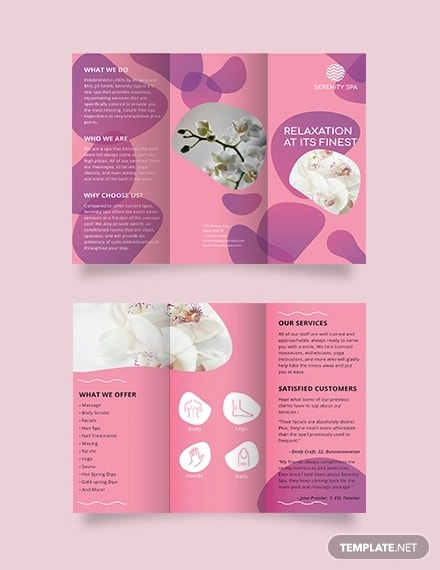 spa bifold brochure template