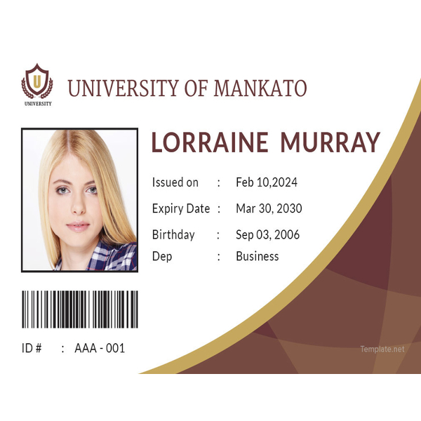 student id card template1