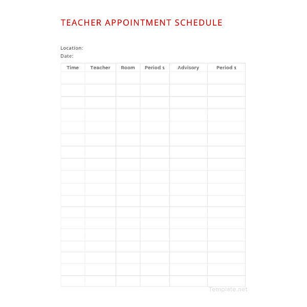teacher-appointment-schedule-template