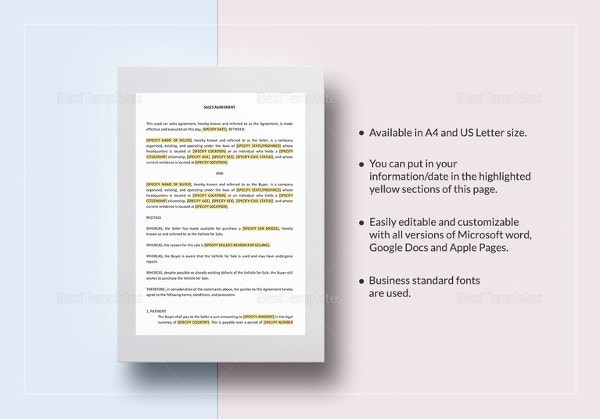 Used Car Sales Contract In Word, Pages For Mac