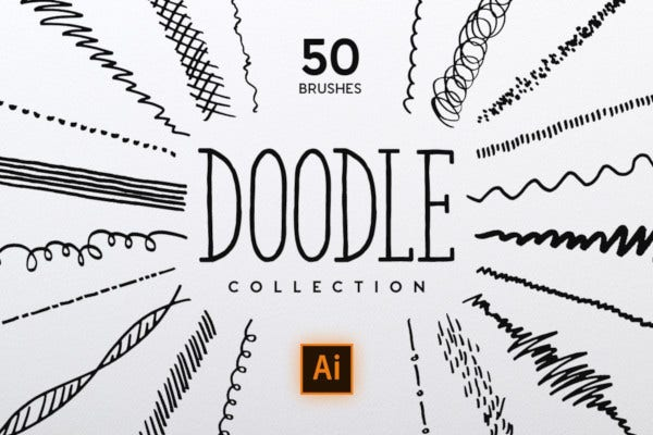vector doodle brush collection