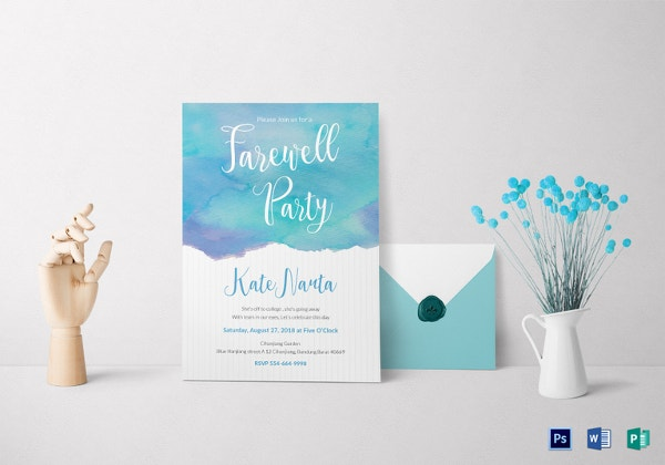 watercolor farewell party invitation template