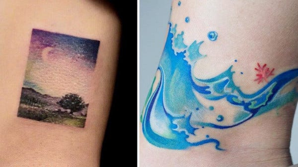 watercolor night sky tattoo1