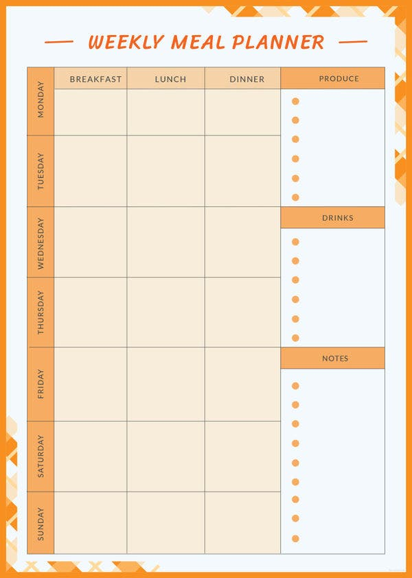 9 weekly meal planner template free sample example format