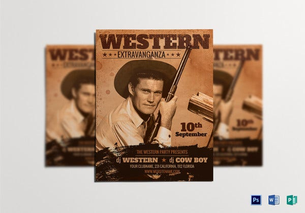 western-party-flyer-template