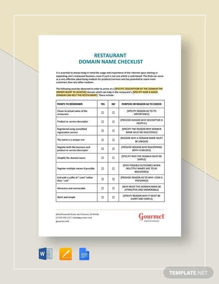 21+ Restaurant Checklist Templates - Word, PDF, Excel, Apple