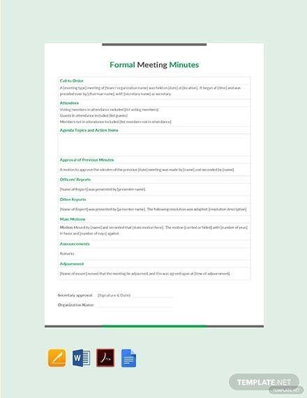 free formal meeting minutes