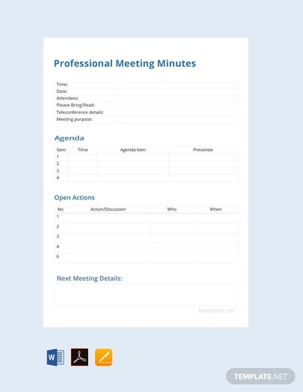 free professional meeting minutes