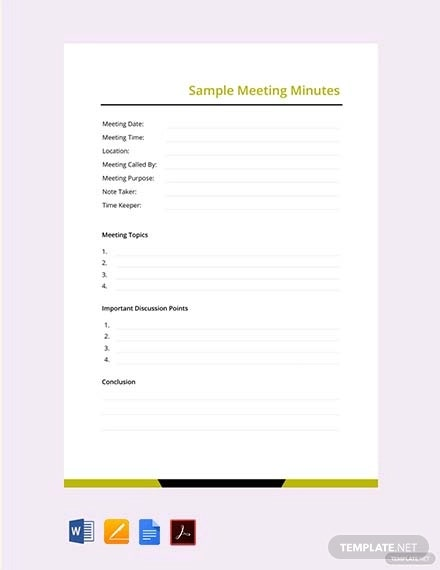 free sample meeting minutes
