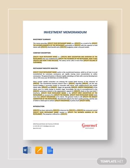 investement memorandum