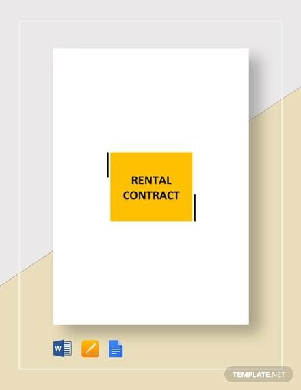 15 Rental Contract Templates Pdf Google Docs Word