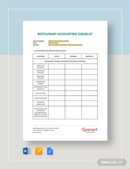 Restaurant Accounting Checklist Template