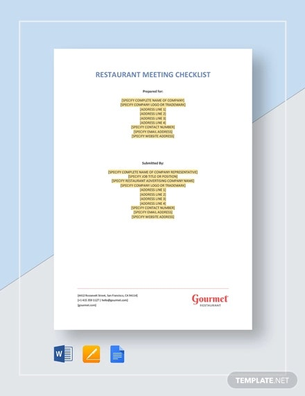 restaurant meeting checklist