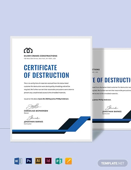 sample certificate of destruction