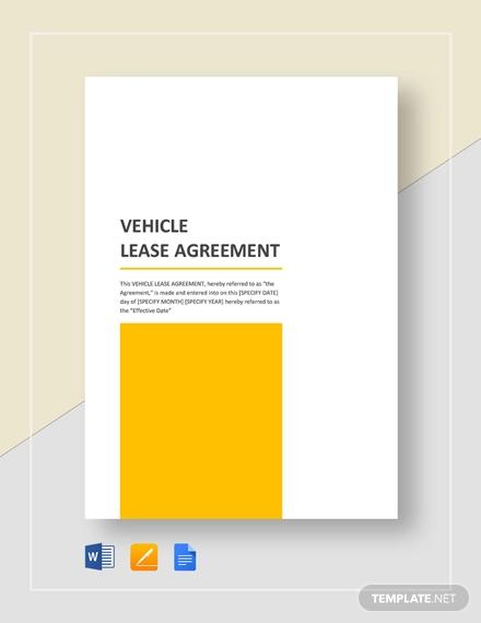sample vehicle lease