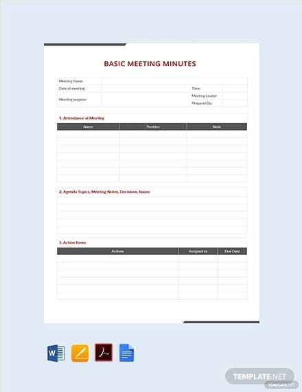 simple basic meeting minutes