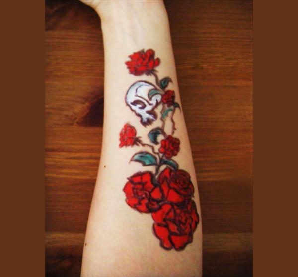 skull rose tattoo design1