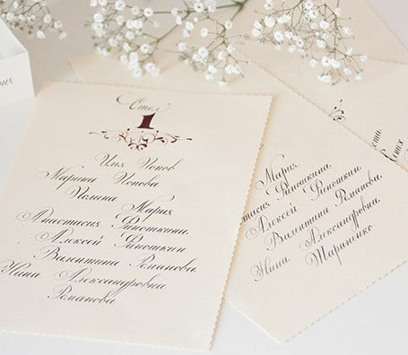 wedding list name card