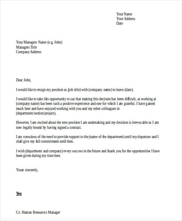 Formal Resignation Letter Format In Doc