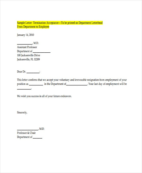 Employee Acceptance Of Resignation Letter Template