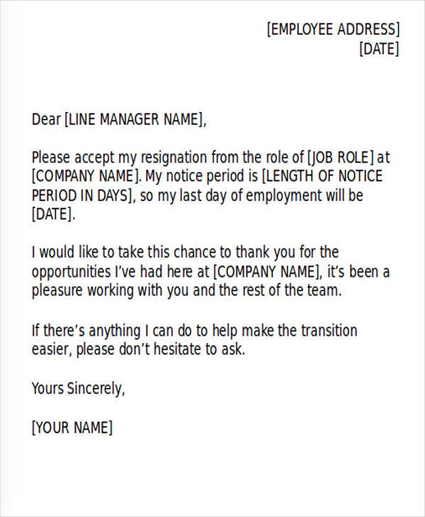 36 resignation letter template in doc free premium templates
