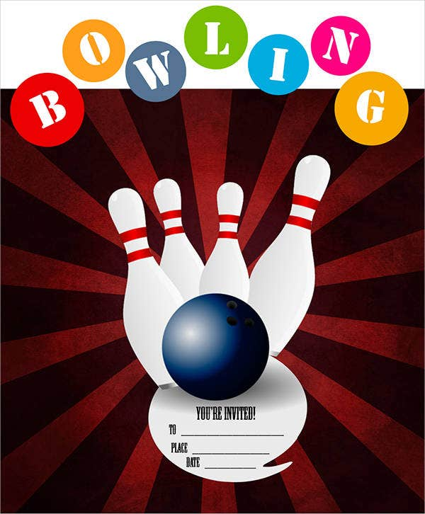 corporate bowling party invitation