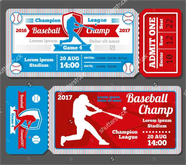 Baseball Ticket Templates  Free Psd Ai Vector Eps Format