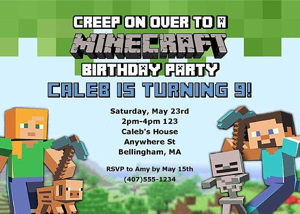 free mine craft birthday invitation