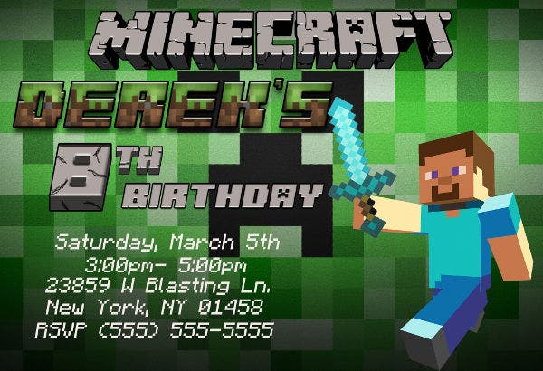 mine craft birthday party invitation1