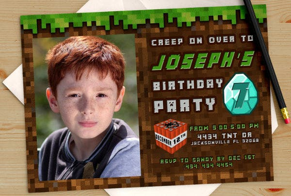 mine craft photo birthday invitation