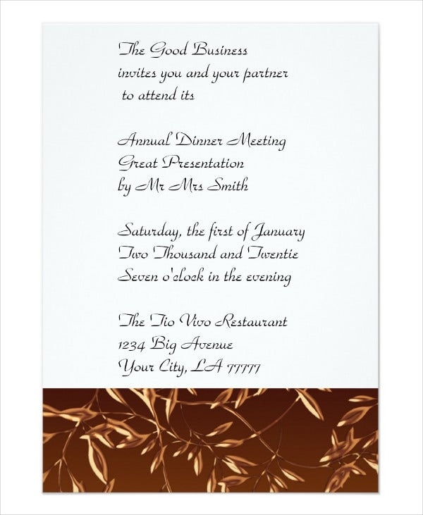 business dinner invitation template. Black Bedroom Furniture Sets. Home Design Ideas