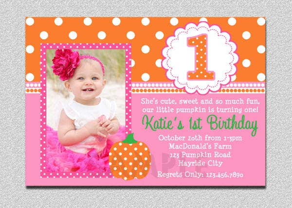 printable girl 1st birthday invitation