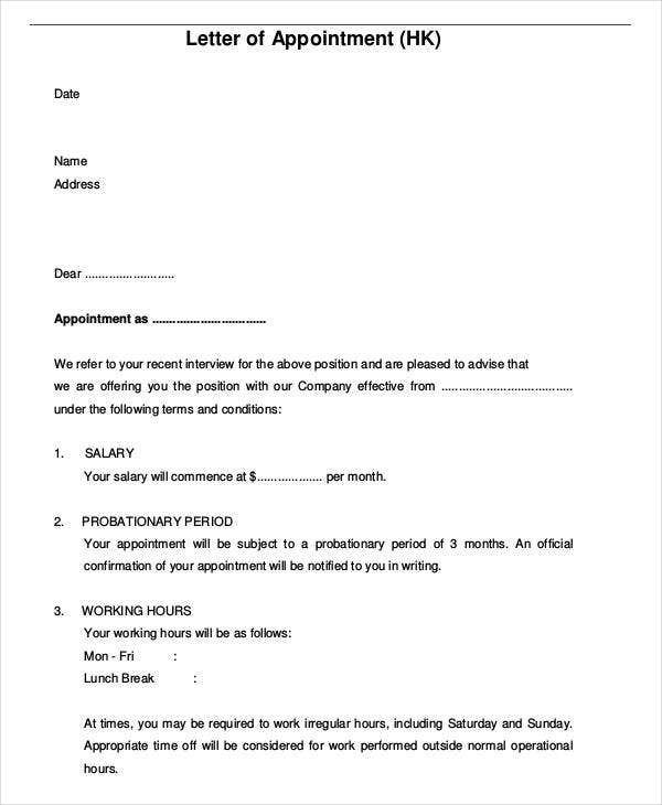 job appointment letter for new employee