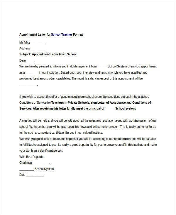 Free appointment letters 35 free word pdf documents download appointment letter format for school teacher altavistaventures Images
