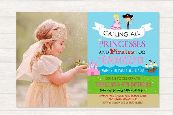 pirate and princess birthday invitation2
