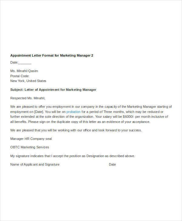 appointment letter format for marketing manager