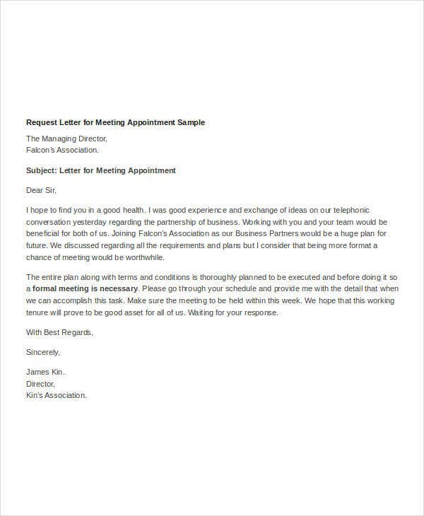 appointment request letter for meeting