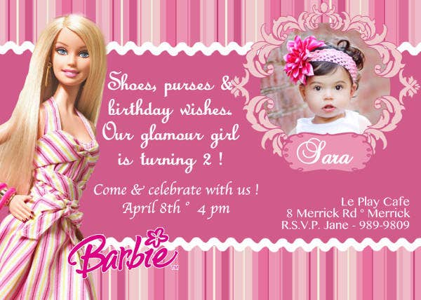 Barbie Doll Birthday Invitation